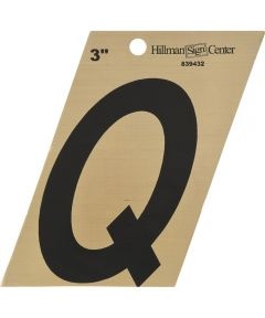 3 in. Black and Gold Adhesive Letter Q