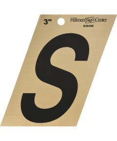 3 in. Black and Gold Adhesive Letter S