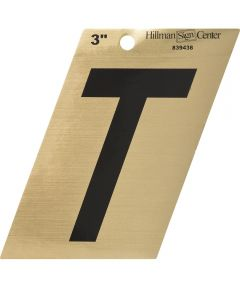 3 in. Black and Gold Adhesive Letter T, Angle Cut Mylar