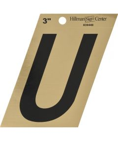 3 in. Black and Gold Adhesive Letter U, Angle Cut Mylar