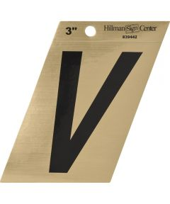 3 in. Black and Gold Adhesive Letter W