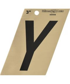 3 in. Black and Gold Adhesive Letter Y, Angle Cut Mylar