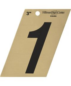3 in. Black and Gold Adhesive Number 1, Angle Cut Mylar