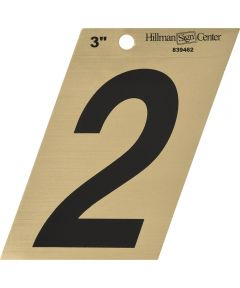 3 in. Black and Gold Adhesive Number 2, Angle Cut Mylar