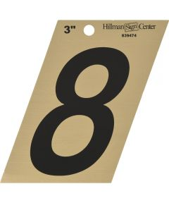 3 in. Black and Gold Adhesive Number 8, Angle Cut Mylar