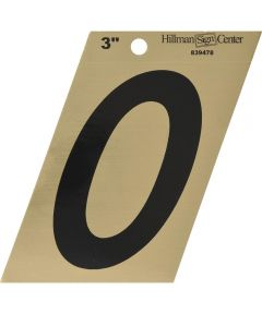 3 in. Black and Gold Adhesive Number 0, Angle Cut Mylar