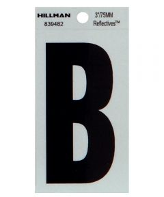 3 in. Black and Silver Thin Adhesive Letter B