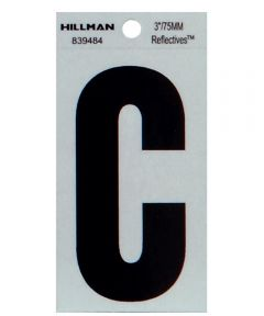 3 in. Black and Silver Thin Adhesive Letter C