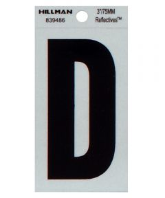 3 in. Black and Silver Thin Adhesive Letter D