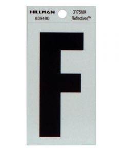 3 in. Black and Silver Thin Adhesive Letter F