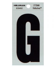 3 in. Black and Silver Thin Adhesive Letter G