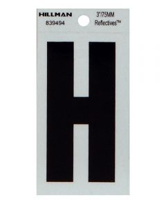 3 in. Black and Silver Thin Adhesive Letter H