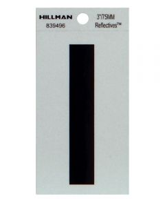3 in. Black and Silver Thin Adhesive Letter I