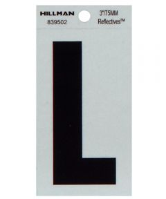 3 in. Black and Silver Thin Adhesive Letter L