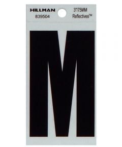 3 in. Black and Silver Thin Adhesive Letter M