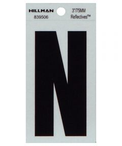 3 in. Black and Silver Thin Adhesive Letter N