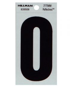 3 in. Black and Silver Thin Adhesive Letter O