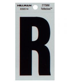 3 in. Black and Silver Thin Adhesive Letter R