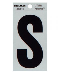 3 in. Black and Silver Thin Adhesive Letter S