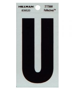 3 in. Black and Silver Thin Adhesive Letter U