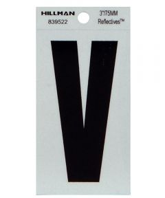 3 in. Black and Silver Thin Adhesive Letter V