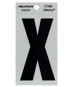 3 in. Black and Silver Thin Adhesive Letter X