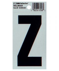 3 in. Black and Silver Thin Adhesive Letter Z