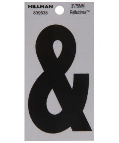 3 in. Black and Silver Thin Adhesive Ampersand