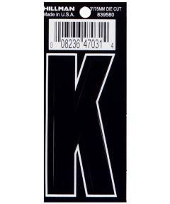 3 in. Die-Cut Black Adhesive Letter K