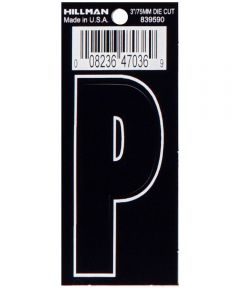 3 in. Die-Cut Black Adhesive Letter P