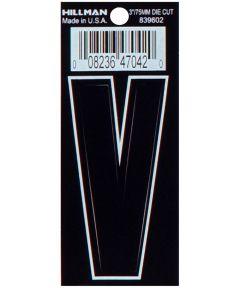 3 in. Die-Cut Black Adhesive Letter V