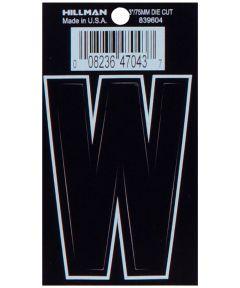 3 in. Die-Cut Black Adhesive Letter W