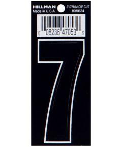 3 in. Die-Cut Black Adhesive Number 7