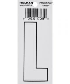 3 in. White Adhesive Letter L