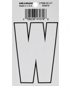 3 in. White Adhesive Letter W