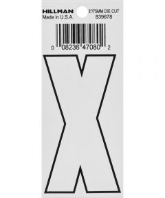 3 in. White Adhesive Letter X