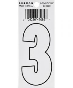 3 in. White Adhesive Number 3