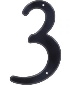 4 in. Nail-On Black Plastic House Number 3