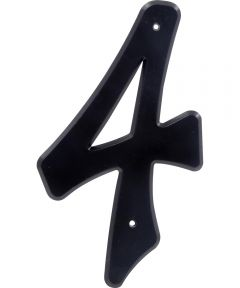 4 in. Nail-On Black Plastic House Number 4