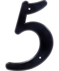4 in. Nail-On Black Plastic House Number 5