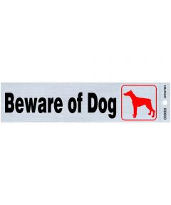 Nickel Adhesive Beware of Dog Sign 2 in. x 8 in.
