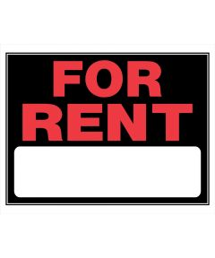 For Rent Sign, 15 x 19, Plastic