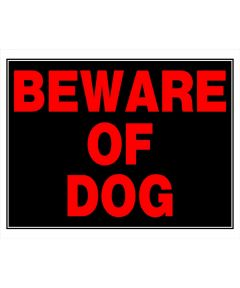 Black Square Beware of Dog Sign 15 in. x 19 in.