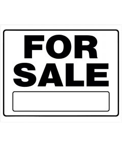 For Sale Black and White Sign With Frame 20 in. x 24 in.