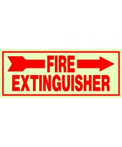 Adhesive Glow-in-the-Dark Fire Extinguisher Right Sign 4 in. X 10 in.