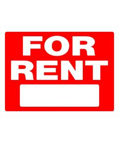 For Rent Sign, 24 in., Plastic