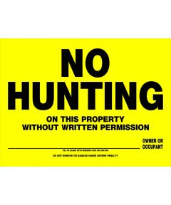 No Hunting Sign 12 x 16