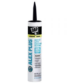 Alex Plus Black Acrylic Latex Caulk Plus Silicone, 10.1 oz.