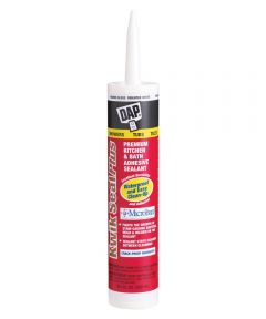 Kwik Seal Plus Brighter White Premium Kitchen & Bath Adhesive Caulk Sealant with Microban, 10.1 oz.