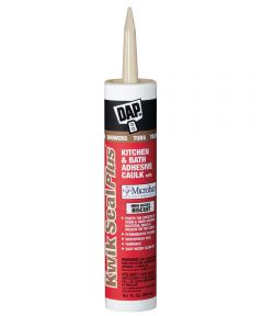 Kwik Seal Plus High Gloss Biscuit Kitchen & Bath Adhesive Caulk with Microban, 10.1 oz.